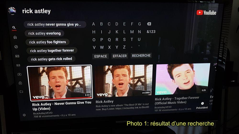 Photo 1: Résultat d'une recherche sur Youtube