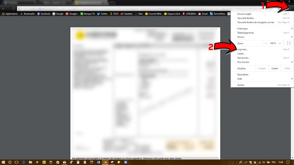 Google Chrome - Accès via les paramètres
