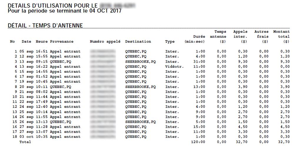 Screenshot d'un ancienne facture